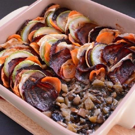 Овощи, запеченные с грибами