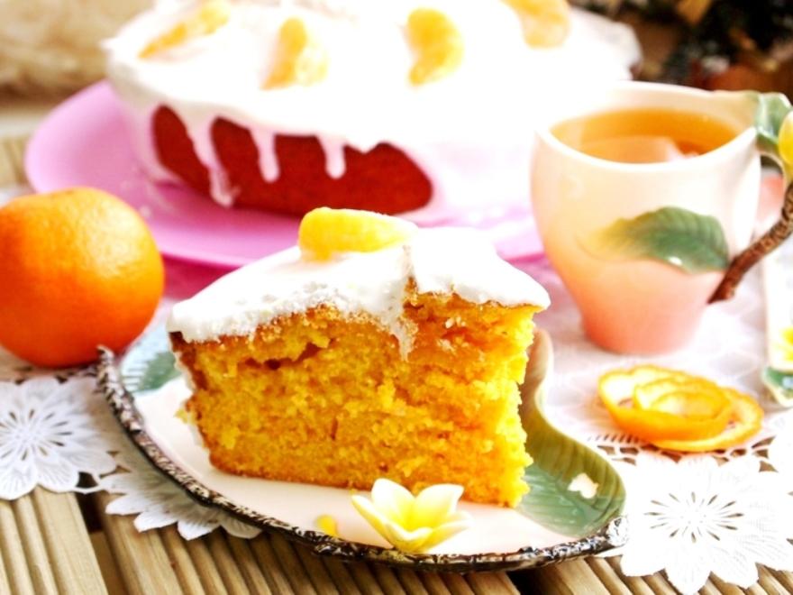 Вкусный мандариновый пирог