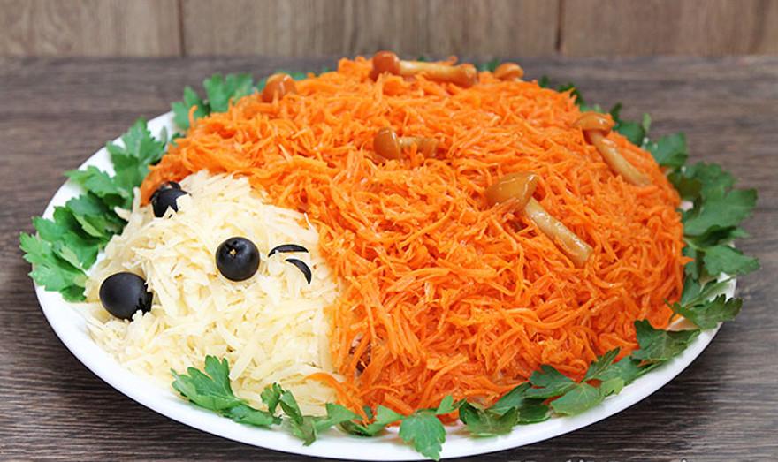 Салат ёжик с ананасом